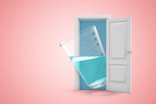 3d Rendering Of A White Open Doorway With Measuring Cup Filled With Transparent Liquid On Light Pink Background