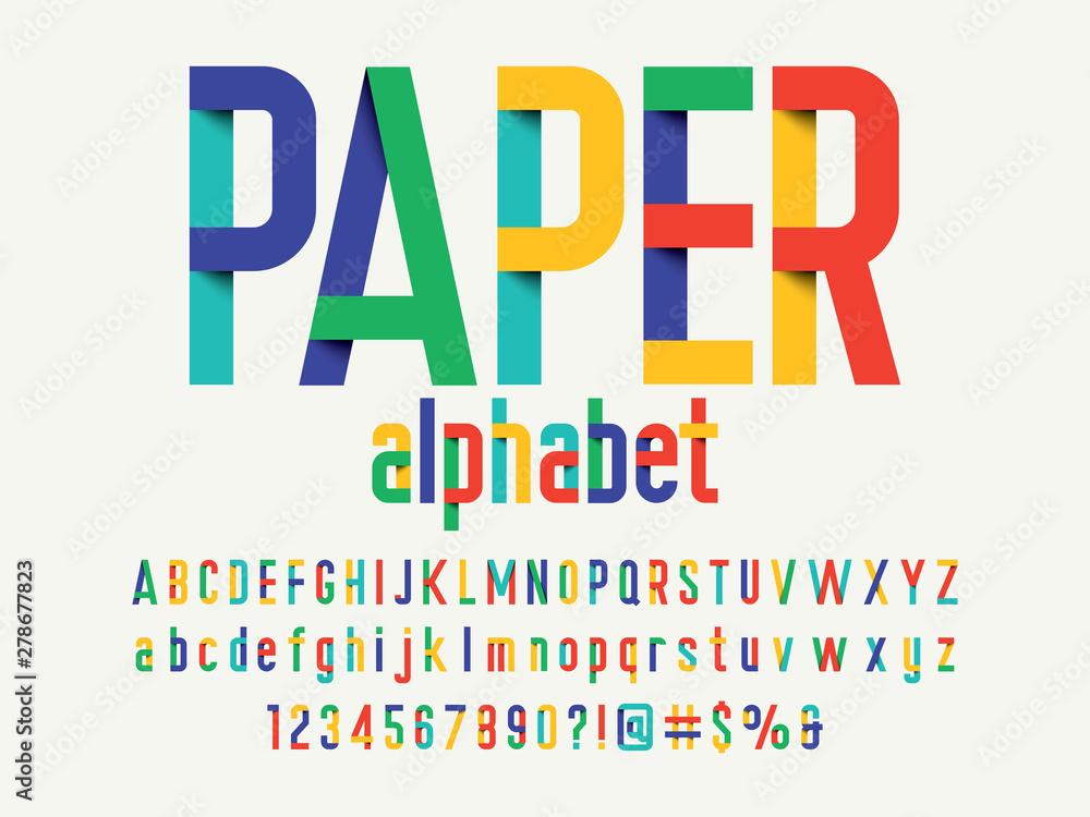 Fototapety, obrazy: Paper folding origami style alphabet design