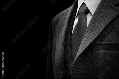 gentle businessman closeup groom tuxedo suit for luxury black and white with space for text