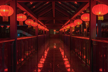 2 Rows Of Beautiful Red Lanterns Hanging On The Eaves Of The Chinese New Year Night Wood Building Corridor,Chinese New Year Lantern View Background