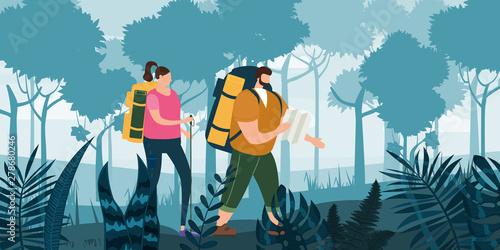 Fényképezés  Tourists cute couple in love performing outdoor touristic activity - adventure t