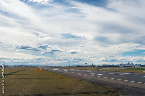 Runway, airstrip at airport with motion blur Canvas Print
