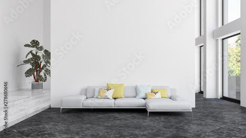 large luxury modern bright interiors room illustration 3D rendering Tableau sur Toile