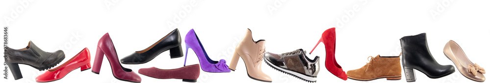 Fototapeta Shoes advertising banner, Collage of different shoes