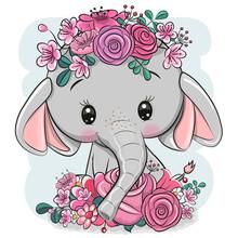 Cartoon Elephant With Flowers ...