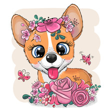 Cartoon Corgi With Flowers On A White Background