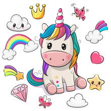 Cartoon Unicorn And Set Of Cute Design Elements