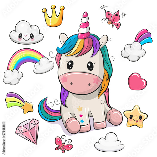 Photo Cartoon Unicorn and set of cute design elements