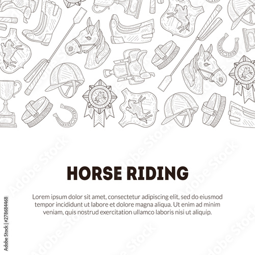 Cuadros en Lienzo Horse Riding Banner Template with Place for Text and Horseback Equipment, Horse