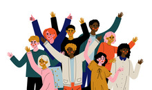 Cheerful Crowd Of People Of Different Nationalities, Happy Young Men And Women Standing Together Social Diversity Vector Illustration