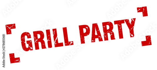 grill party stamp. grill party square grunge sign. grill party Wallpaper Mural