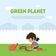 Green Planet Banner Template With Cute Girl Volunteer Planting Tree In Garden Vector Illustration