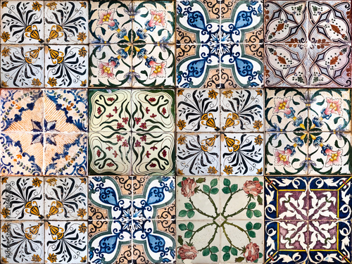 Tuinposter Marokkaanse Tegels Background of vintage ceramic tiles