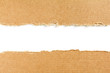 canvas print picture Two torn pieces of brown cardboard on white background with space for text.