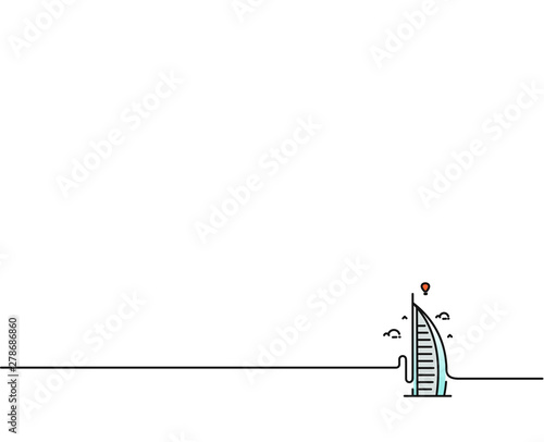 фотография Dubai Burj Al Arab Flat Line Art icon Vector illustration.