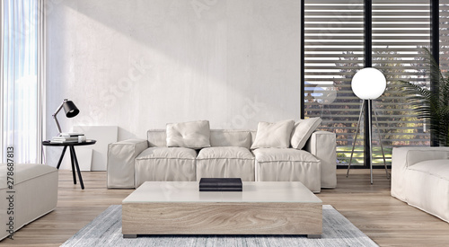 Modern interior design of living room with italian style ...