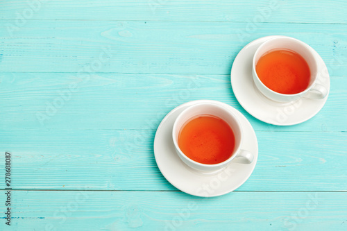 Fotobehang Thee Tea ceremony. Tea cups with hot tea close up