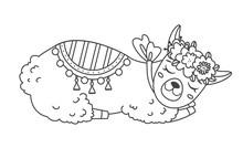 Cute Outline Doodle Sleeping L...