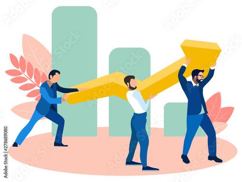 Fototapeta Office employees raise infographic, finance and revenue figures. In minimalist style. Cartoon flat vector obraz