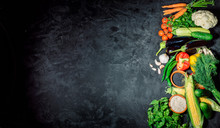 Healthy Food Background. Concept Of Healthy Food, Fresh Vegetables On A Dark Background. Top View Whith Copy Space