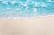 canvas print picture - Soft blue ocean wave on clean sandy beach background