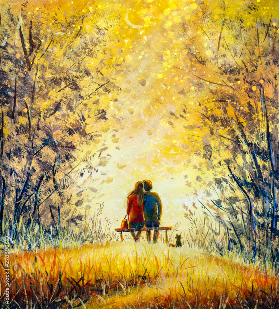 Fototapeta Oil painting romance and love. A loving couple and cat - young man and beautiful girl are sitting on bench and enjoying beautiful view of yellow sunset. Romantic landscape.