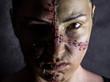 Kobieta zszycie Frankenstein horror portret