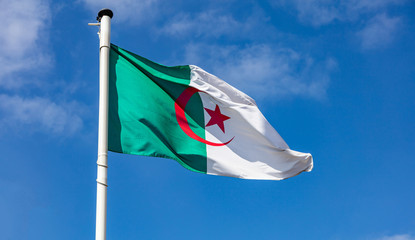 Alžirska zastava koja se vijorila protiv vedrog neba
