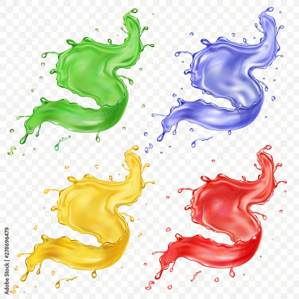 Fototapeta Fruit juice set. Colred paint splashes realistic vector icon set