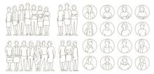 Big Set Business Womens Group. Lady Management Team. Businesswomens Standing. Work Partnership Leadership. Female Dress Code. Outline Contour Line Vector Illustration.