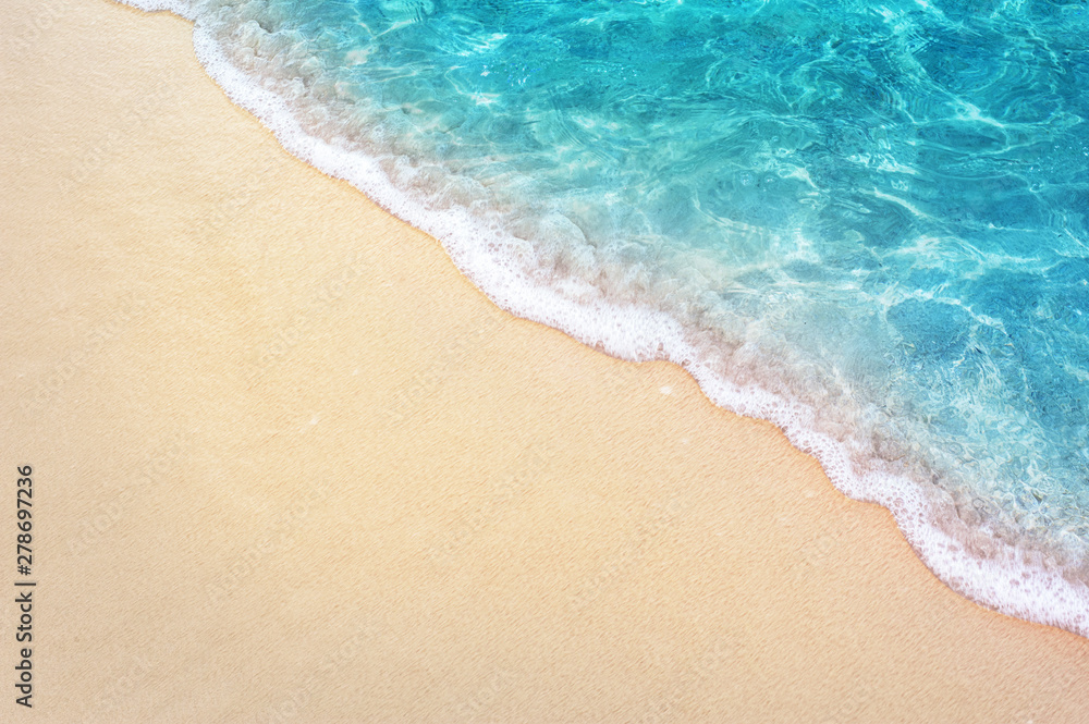 Fototapety, obrazy: Soft blue ocean wave on clean sandy beach