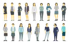 Big Set Business Womens. Lady Management. Businesswomens Standing. Work Partnership Leadership. Female Dress Code. Women In Business Clothes. Vector Flat.