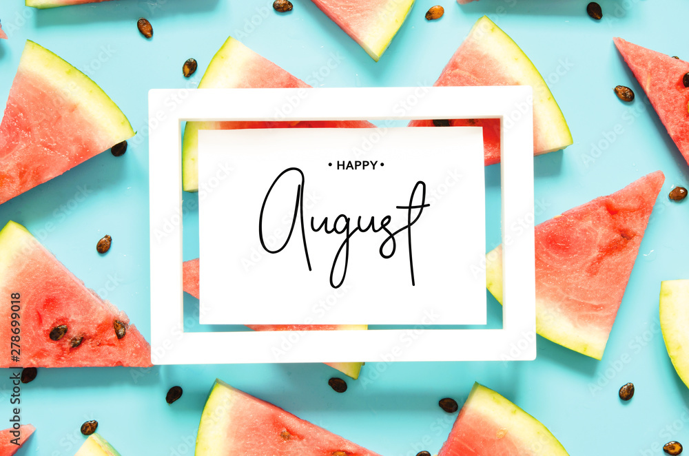 Fototapety, obrazy: Inscription Happy August. Fresh red watermelon slice Isolated light blue background. Top view, Flat lay. - Image