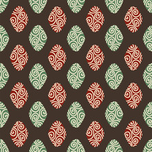 Semaless Geometric Vector Pattern With Red And Green Diamond Shapes On Dark Background