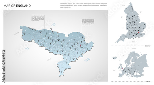Map Of England And Europe.Vector Set Of England Country Isometric 3d Map England Map Europe