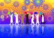 canvas print picture - 打ち上げ花火を背景に可愛い猫が団扇を持って盆踊り