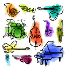 Hand Drawn Set Of Music Instruments. Ink Style Vector Illustration With Watercolor Stains On White Background.