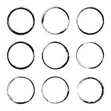 Set Hand Drawn Circle Frame. Text Box From Smears. Vector Black Stroke Border Felt-tip Pen Objects.