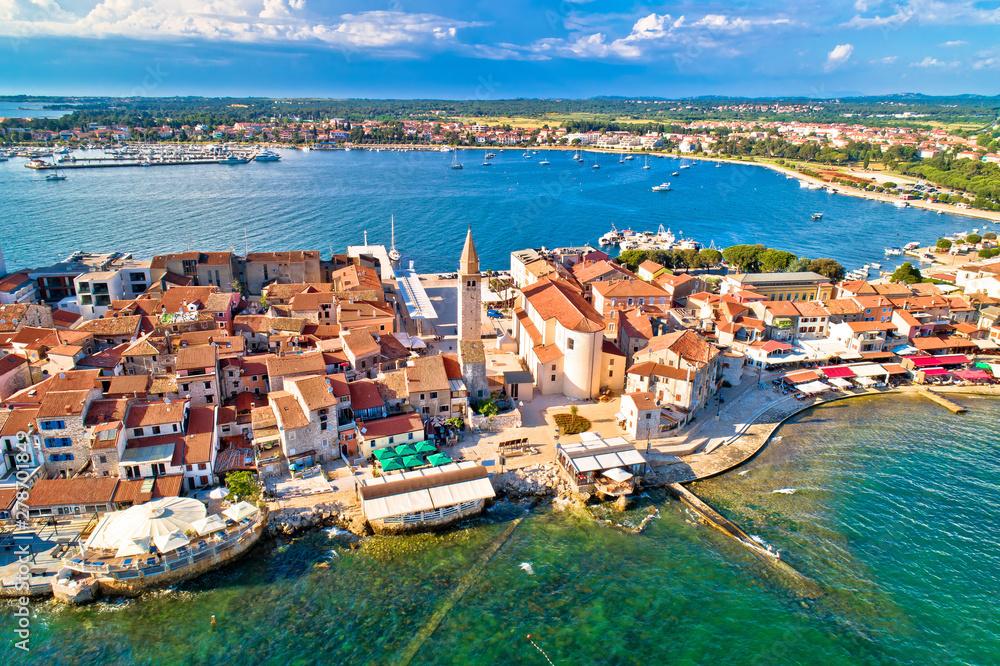 Fototapeta Town of Umag historic coastline architecture aerial view