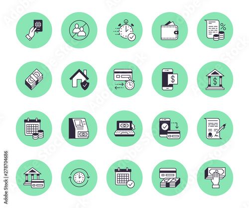 Fototapeta Finance, money loan flat line icons set. Quick credit approval, currency transaction, no commission, cash deposit atm vector illustrations. Thin signs for banking obraz
