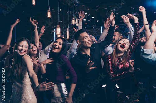 Spoed Foto op Canvas Dance School Portrait cute attractive lovely youth millennial person laugh excited funny funky motion having fun free time raise fists fromal wear suit dress fashionable modern magnificent indoors dance floor