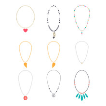 Jewelry Necklaces Vector Cartoon Set Isolated On A White Background.