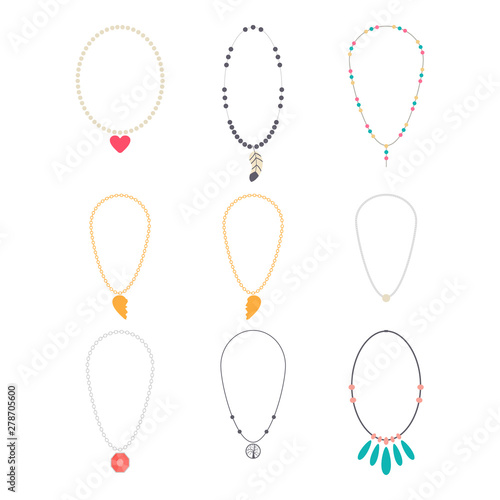 Foto Jewelry necklaces vector cartoon set isolated on a white background