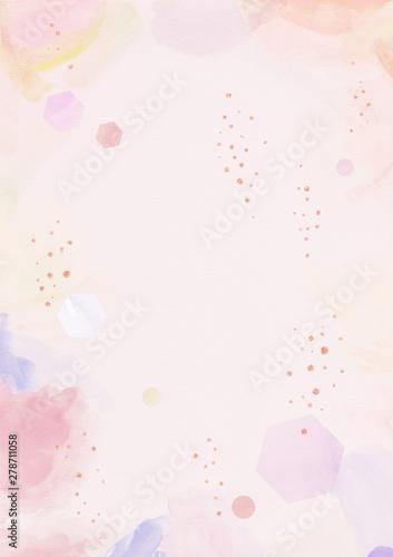 Watercolor background with glitter confetti.