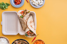 Fajitas Take Away Zero Waste In A Yellow Background