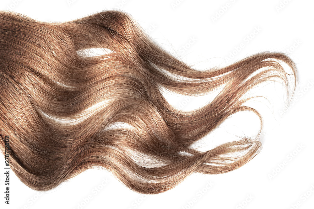 Fototapety, obrazy: Brown wavy hair isolated on white background