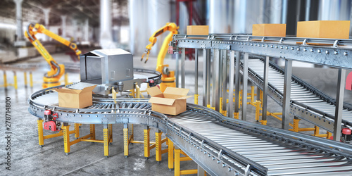 Fototapeta Blank conveyors on a blurred factory background. 3d illustration