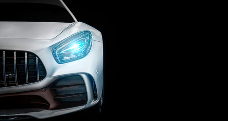 Modern luxury new white sport car , close-up a head light with your space