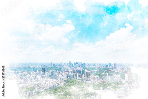 Poster Blanc 東京の風景 Tokyo city skyline , Japan. Illustration of watercolor painting style.