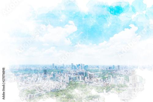Foto  東京の風景 Tokyo city skyline , Japan